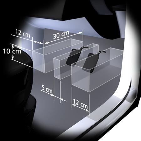 Schematische 3D-weergave van rem- en koppelingspedaal met de voorgeschreven tussenruimte-afmetingen, vermeld door middel van pijlen en bijbehorende centimetervermeldingen